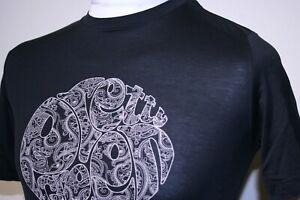 Pretty Green Big Logo Print Crew Neck T-Shirt - XS - Black/Beige - Scooter Top