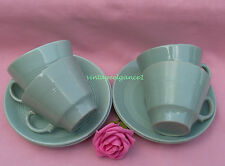 4  X  WOODS WARE -  BERYL -  GREEN  -  TEACUPS & SAUCERS - WWII