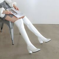 HOT Over Knee High Boots Pointy Toe Zip Block Heels Leather Fashion Women Shoes