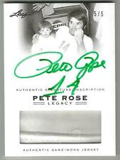 PETE ROSE 2011 Leaf Legacy USED JERSEY GREEN AUTO 5/5 SIGNED Reds Phillies Expos