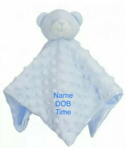 PERSONALISED BABY COMFORTER TEDDY BEAR TAGGIE BLANKET SOFT FLEECE BOY GIRL GIFT