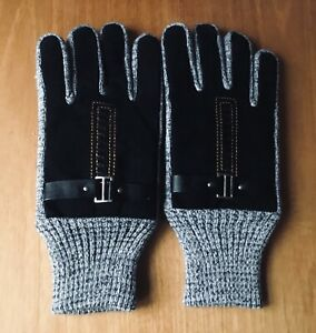MEN'S NEW SUEDE/KNIT BLACK & GREY GLOVES ONE SIZE FAUX FUR-LINED