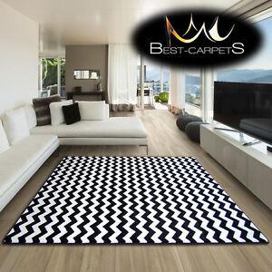 AMAZING THICK MODERN RUGS SKETCH WHITE BLACK F561 ZIG-ZAG LARGE SIZE BESTCARPETS