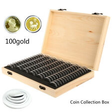 Wooden Coins Display Storage Box Case for Collectible Coin 100 Capsules CA