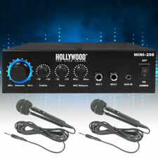 Audio Hifi Heim System Mini Verstärker Karaoke Endstufe Bluetooth 2x Mikrofon
