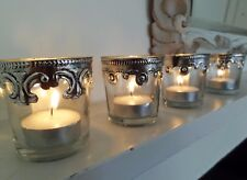 Set of 4 Vintage Style Glass Tea Light Holders Parlane 'royale'