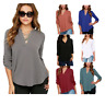 UK Womens Tops Blouse Ladies Long Sleeve T-Shirt Loose V Neck Casual Top Summer