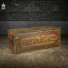 More details for 19th c pine gypsy showman's travel chest with original painted finish