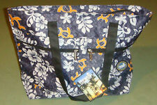 H-05 Hawaii Spirit Hawaiian Print Black Handbag Ecobag Tote Purse Beach Shopping