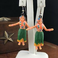 Vtg Hula Girl Tiki Dangle Earrings Rubber Hawaiian Hawaii Fun
