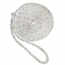 "New England Ropes 1/2"" X 15' Premium Nylon 3 Strand Dock Line White w/Tracer ..."