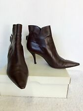 ROGER VIVIER DARK BROWN ITALIAN LEATHER ANKLE BOOTS SIZE 7.5/ 40.5