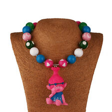 New Acrylic Solid Chunky Gumball Beads Bubblegum Pink Trolls Necklace X-mas Gift