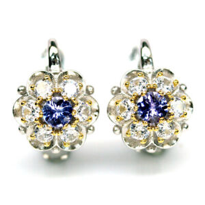 NATURAL BLUE TANZANITE & WHTIE CZ TWO TONE EARRINGS 925 SILVER STERLING