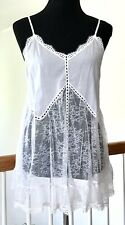 NWT Victoria's Secret Sz M 100% Cotton Batiste/Lace Babydoll Nightie PALEST Pink