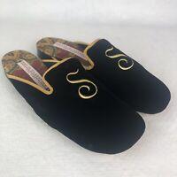 Amy Jo Gladstone New York Ladies Embroidered Slippers Shoes Black Velvet