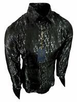 Mens Manzini Dress Shirt Black Sheen Floral Stripe French Cuff Link Button Up