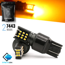 Syneticusa 7443 Amber Yellow Projector Rear Turn Signal 24-LED Light Bulbs