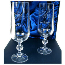 Personalised Mr & Mrs Wedding Anniversary Champagne Flutes Engraved with Surname