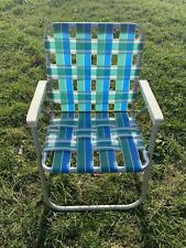 Vintage Aluminum Webbed Folding Chair Beach Camping Lawn Seat White Blue Green
