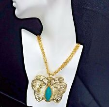 Gold Plated Necklace Pendant - Turquoise Stone - Butterfly
