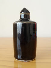 c.18th - Antique Chinese China Kangxi Black Monochrome Porcelain Snuff Bottle