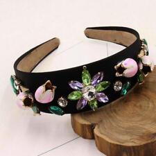 Women Floral Headband Rhinestone Pearl Velvet Amethyst Crystal Fashion Accessory