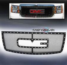 2007-2010 GMC SIERRA 2500/3500 HD UPPER RIVET BLACK MESH GRILLE INSERT LOGO SHOW