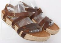 Earth Kalso Enlighten Brown Leather Espadrille Kalso Buckle Sandals Women's 11B