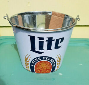 """Metal Miller Lite Beer Bucket / Pail, New! -Collectible! 7"""" Tall"""