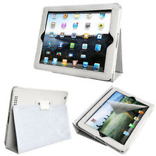iPad 2 White Litchi High Quality Leather Case with Stand & Sleep/Wake Function