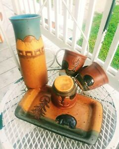 Native Pottery Winterhawk Hand Signed 5 pc Group Vase Tray + 3 Mugs Indian Creek
