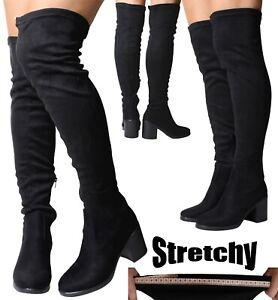 Womans Black Chunky Heel Suede Stretch Lo Wide Calf Fit Over The Knee High Boots