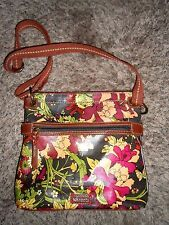 SAKROOTS Coated Canvas CrossBody Purse Brown / Floral ExcCond
