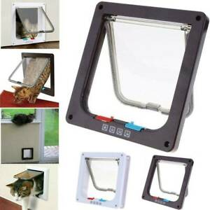 UK Pet Door 4 way Lockable Small Medium Large Dog Cat Security Flap Door Fra