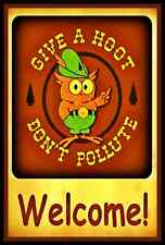 WELCOME! WOODSY OWL GIVE A HOOT! U.S. FOREST SERVICE RUSTIC VINTAGE SMOKEY BEAR
