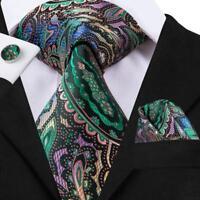 USA Classic Paisley Green Blue Purple Mens Tie Necktie Set Silk Woven Business