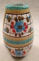 Vintage Mid Century Turquoise Mustard Yellow Check Vase Italy 7450 1950s 1960s