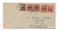 STORIA POSTALE 1919 REGNO TRENTO TRIESTE 1+2+10 SU BUSTA MERANO 12/12 D/9376