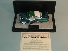 1955 FORD CROWN VICTORIA CUSTOM TURQUOISE DANBURY MINT 1:254 DIECAST & DISPLAY