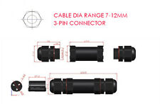 Outdoor Waterproof IP68 Cable Dia Range 7-12mm Connector-3 Core Pin 20A 240~380V