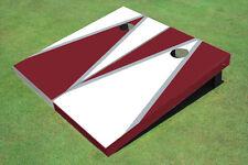 White And Maroon Alternating Triangle Custom Cornhole Board