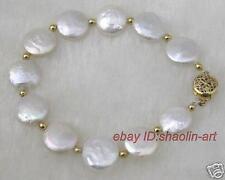 charmant ,Blanc pièces perle de culture, Bracelet , 19 cm