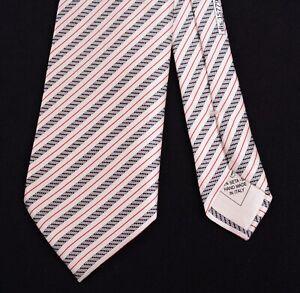 Brioni White Black Red Wet Satin Glossy Striped 100% Silk Tie