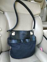 Gucci Pigskin Leather Bag Shoulder Black Nylon Crossbody 001-3307 Tote Pouch