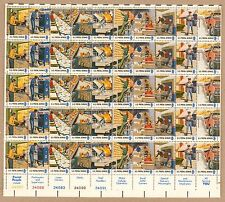 {BJ stamps}  #1489-1498   Postal People. MNH 8¢ Sheet of 50.   Issued in 1973.