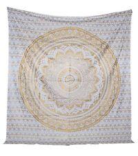 White and Gold Tapestry Wall Hanging Mandala Cotton Printed Bohemian 2 Pcs Lot