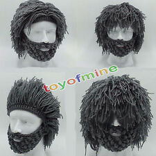 Mens Boys Funny Wig Beard Hats Hobo Mad Caveman Winter Knit Warm Hat Beanies