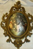 Vtg Victorian Gold-Tone Frame Resin Ornate Art Cloth Silky Picture Made Italy 36