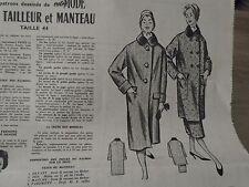 """562 ANCIEN PATRON """"VOTRE MODE VESTE ,TAILLEUR & MANTEAU   T 44 1957"""